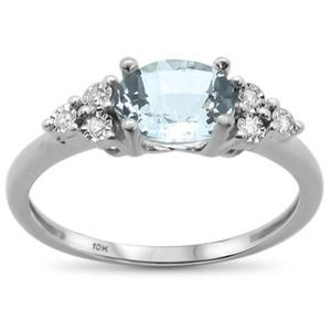 aquamarine white gold and diamond ring